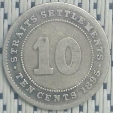 Straits Settlements - 1895 - 10 Cents Victoria Silver #CMU