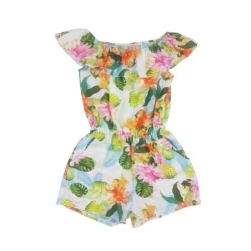 Kids Girls Chiffon Floral Frill Bardot Playsuit Off Cold Shoulder Age 4-14 Years
