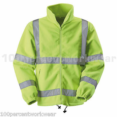 Blackrock YELLOW Hi High Vis Viz Visibility Mens Full Zip Fleece Jacket Coat New