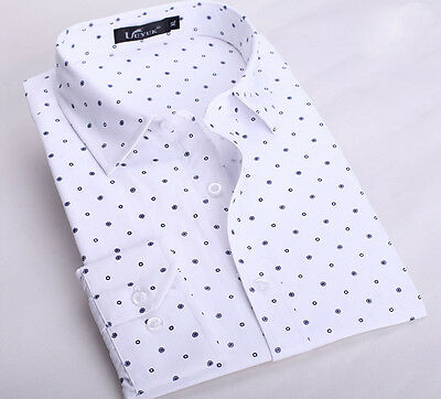 T228 New Men's Luxury Casual Slim Fit Long Sleeves Dress Shirts 4 Color 5 Size