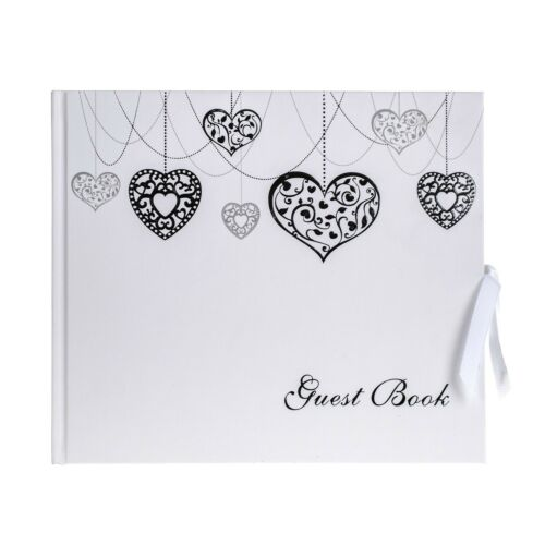 Amour Coeur Mariage Livre d/'Or Shabby Chic Luxe Argent Blanc