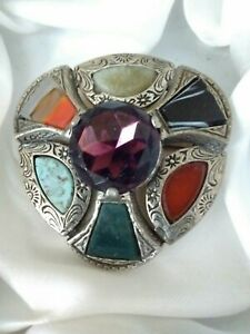 Vintage-Signed-Miracle-Scottish-Celtic-Amethyst-Agate-Glass-Brooch-Kilt-Pin