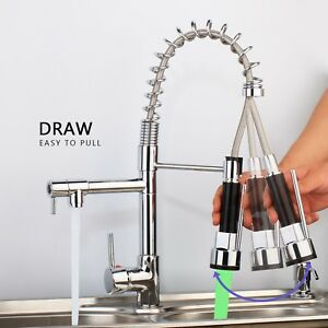 Details About 360 Swivel Led Spout Spring Pull Down Spray Chrome Kitchen Faucet Sink Mixer Tap