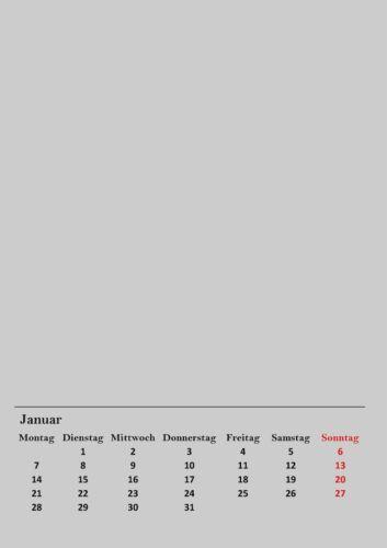 Bastelkalender 2021 Grau A4 Kreativ Foto Jahres Wand Kalender DIY Gestalten