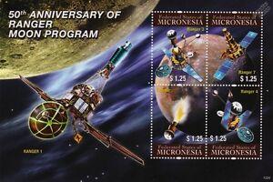 Ouvert D'Esprit Ranger Vaisseau Spatial Lune Programme/lunar Sonde Espace Timbre Feuille #2 2011 Micronésie-afficher Le Titre D'origine Doux Et AntidéRapant