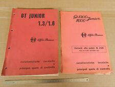 MANUALE ORIGINALE 1973 ALFA ROMEO GIULIA GT 1300 1600 JUNIOR + allegato 1974