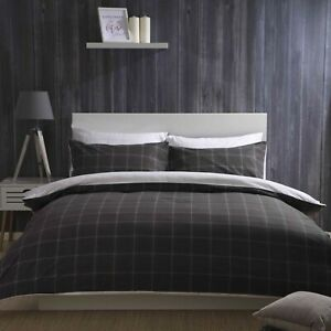 100-Brushed-Cotton-Check-Duvet-Cover-Set-Charcoal-Grey-amp-White-Single-Bed-Size