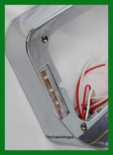Headlight Bezel With Visor Rectangular Dual Lights 21 Amber LED Clear Lens 1 Set