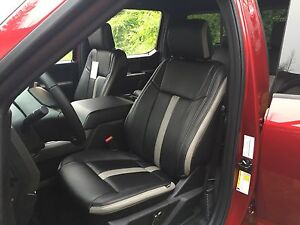 Details About 2015 16 17 18 Ford F 150 Super Crew Sport Black Gray Katzkin Leather Seat Covers