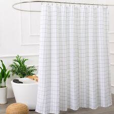 Black and White Fabric Shower Curtain for Bathroom with 12 Hooks, 71 Wx 71H