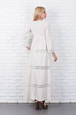 Vtg 70s Cream Boho Wedding Cutout Lace Dress Maxi Floral Bell Sleeve XS Hippie