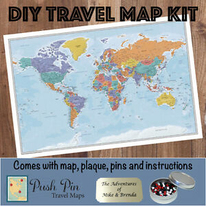 DIY Blue Oceans World Push Pin Travel Map Kit | eBay