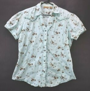 Wrangler-Women-039-s-Size-Large-Floral-Print-Short-Sleeve-Pearl-Snap-Shirt-Blouse