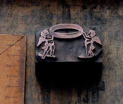 Engel M.ring Jugendstil Kupferdruckstock Galvano Klischee Art Nouveau Hochzeit Wohltuend FüR Das Sperma