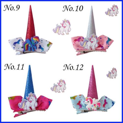 "20 BLESSING Girl Popular 2.5/"" Unicorn Clip Little Pony Rainbow Spangle Flash"