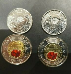 1x-2018-Coloured-Canada-Armistice-and-2015-plain-poppy-coin-UNC-Rare-set-hurry