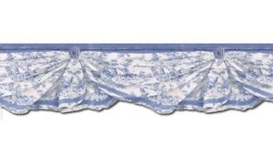 Blue-on-White-Colonial-Swag-Country-Toile-Diecut-Wallpaper-Border-MW30238DC