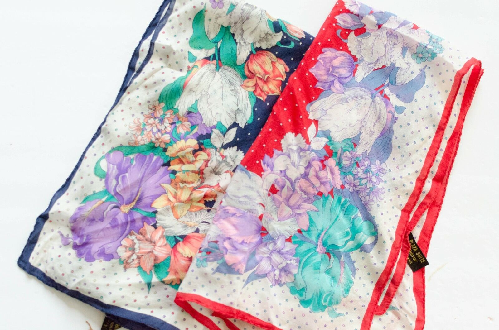 Vintage Set of 2 Silk Polka Dot Floral Italian Scarves Boho Style, 50s, 70s, 80s