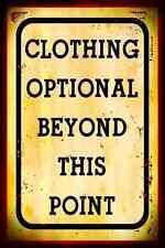 *CLOTHING OPTIONAL* MADE IN HAWAII! METAL SIGN 8X12 NUDE BEACH HOT TUB POOL BAR