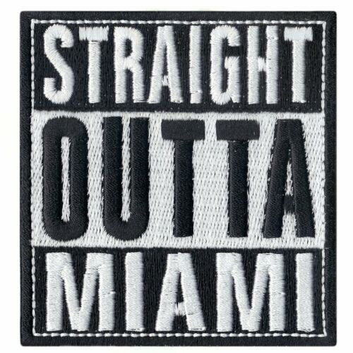 Straight Out Of Miami Logo Iron On Embroidered Patch