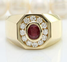 1.71CTW Natural African Ruby and DIAMOND in 14K Solid Yellow Gold Men Ring