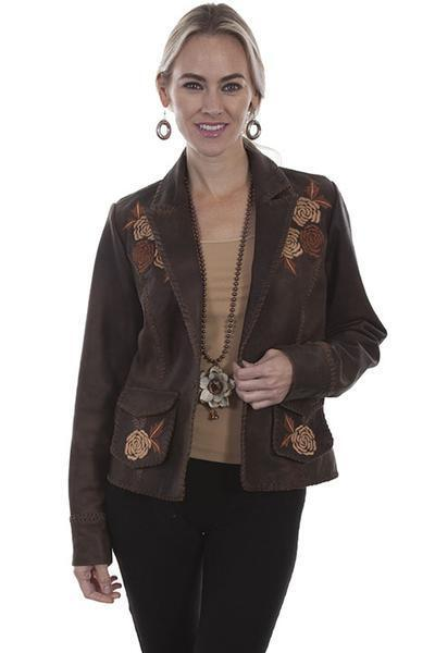 Scully Women's Floral Embroidered Brown Leather Blazer L760  CLOSE OUT SALE
