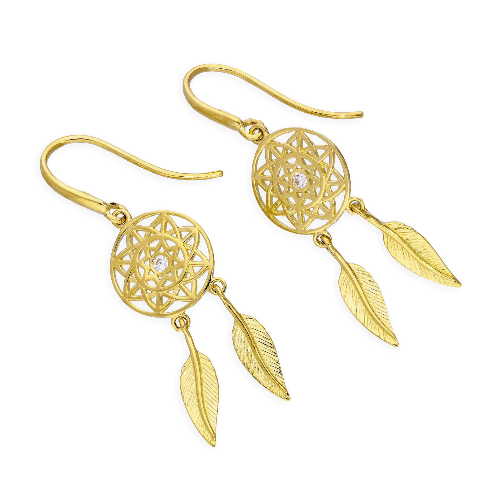 9ct gold & Clear CZ Crystal Dreamcatcher Dangle Earrings Dream Catcher
