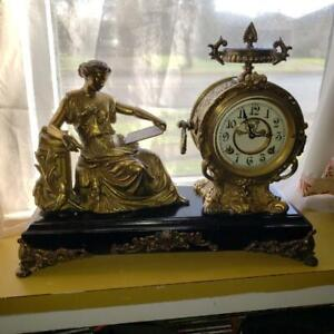 "New Haven ""Clotho"" Figural Mantle Clock"