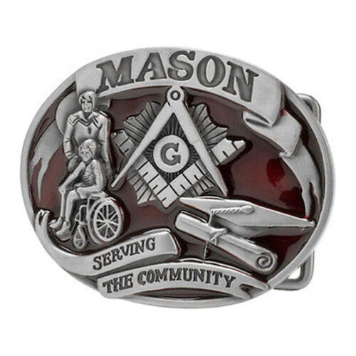 Red Tone Freemason Belt Buckle Masonic Buckle Serving The Community