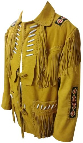 Men/'s Western Nativo Indiano in Pelle scamosciata Giacca in Pelle Ossa e perline frange