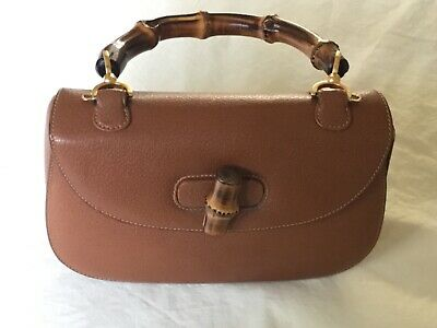 Vintage Gucci Bamboo Handle Bag, Caramel Textured Leather