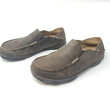 OluKai Sz 10 Moloa Shoes Men's Brown Leather Loafer Slip on 10128 6348