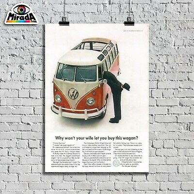 POSTER VINTAGE VW WAGON TYPE 2 SPLIT SCREEN  SAMBA HIPPY FAMILY GRAPHICSQUALITY
