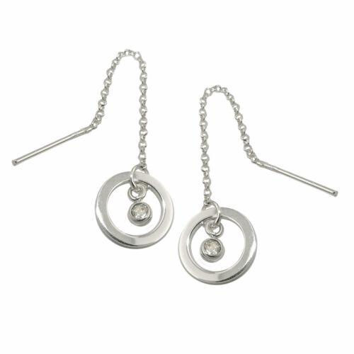 925 Sterlingsilber Ohrringe Durchzieher Ohrhänger 65x11mm Ring Zirkonia Silber