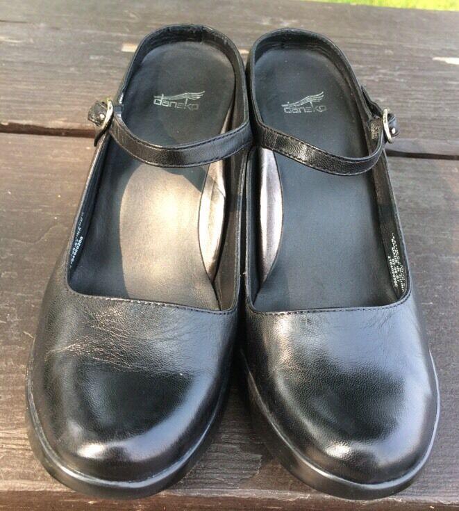 Womens Ladies Dansko Black Leather Mary Jane Heeled Clogs Size 36 NEW