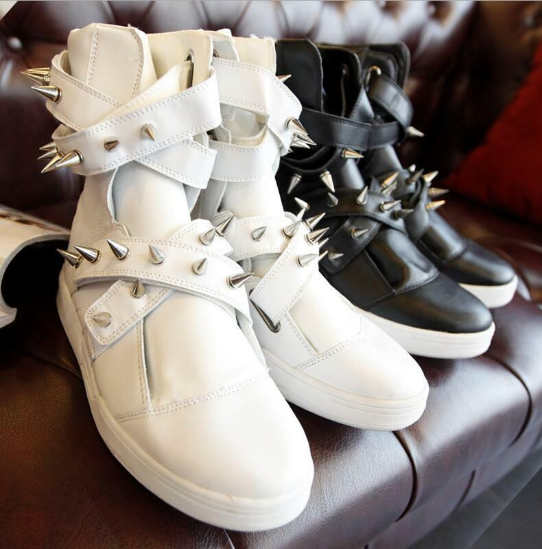 Mens High Tops Ankle Boots Punk Spike Rivet Flats Casual Fashion Sneaker shoes