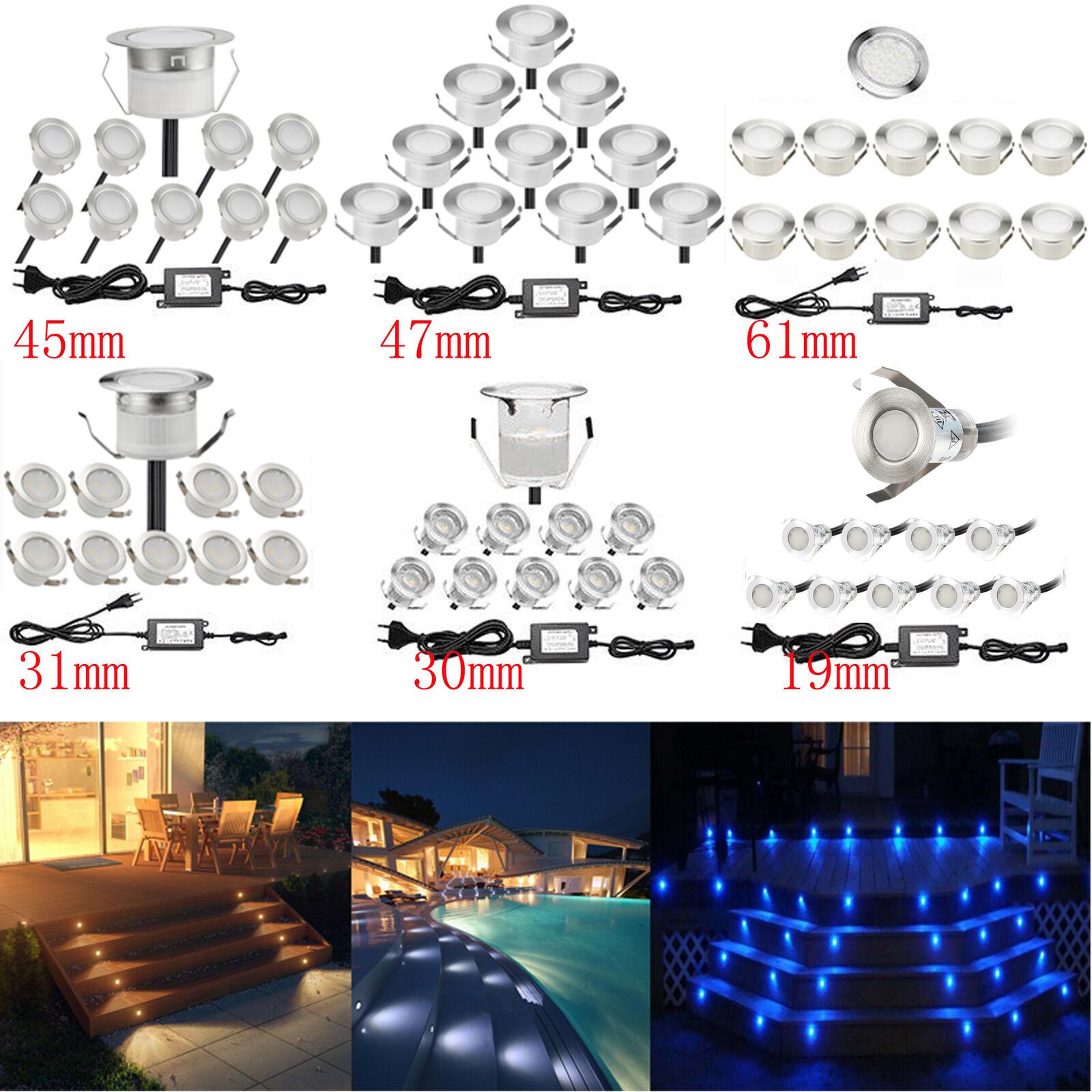 6 10er Set LED Einbaustrahler Terrasse Außen Spot Innen & Aussen Beleuchtung 12V
