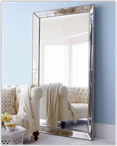 Large Wall Mirror Art Deco Bedroom Metro Dressing Leaning Ebay