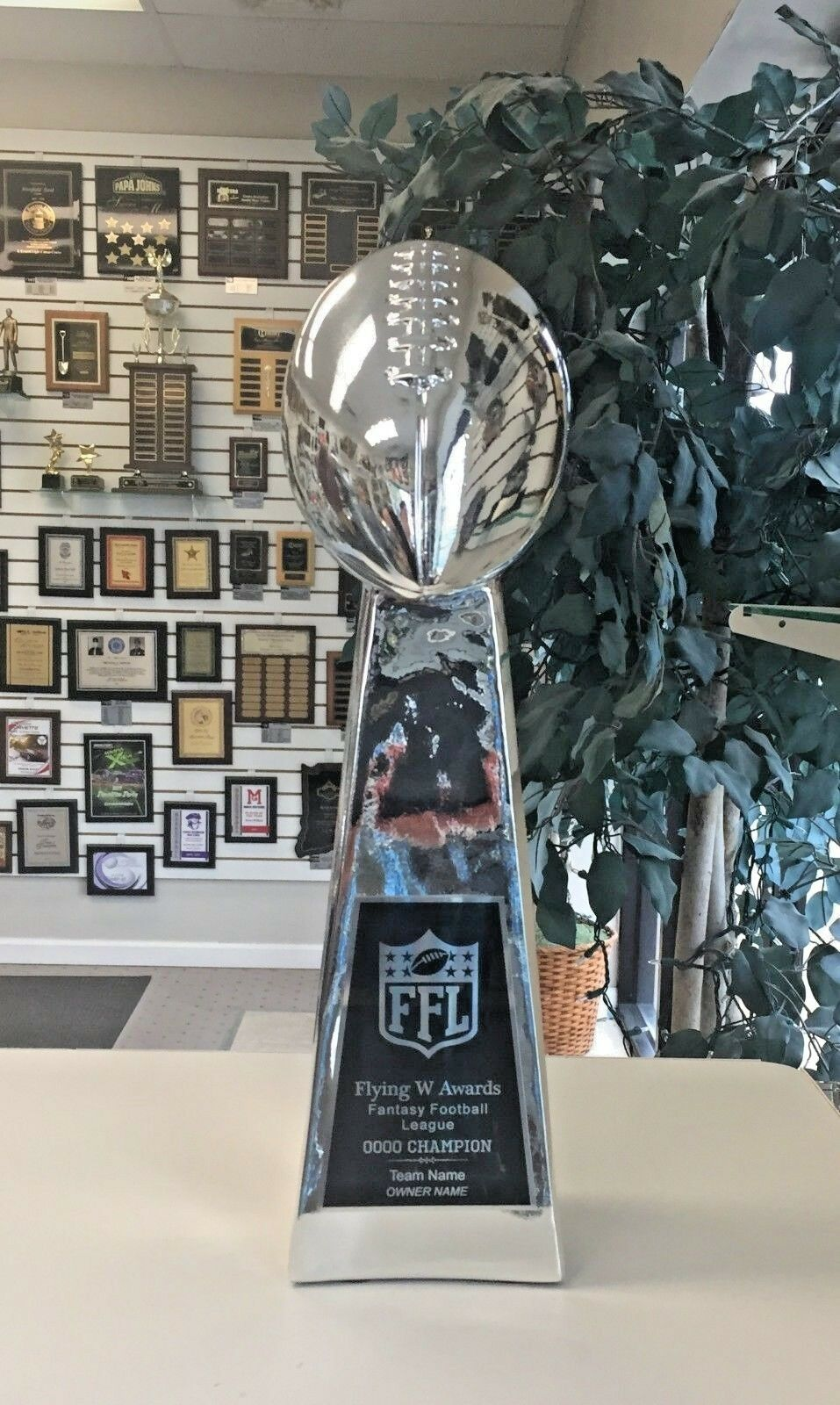 NEW THREE SIDED LARGE LOMBARDI REPLICA FANTASY FOOTBALL TROPHY 18 inches M*RF143
