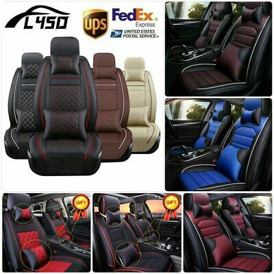 3x PU Leather Charcoal Car Seat Cover Set Front /& Rear Cushion Full Surround Mat