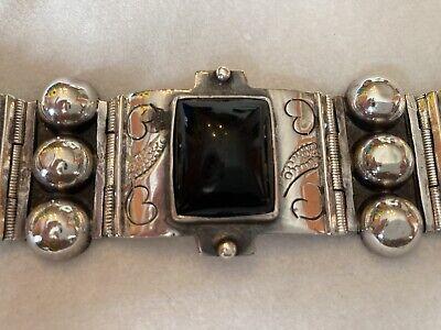 Vintage Mexican Onyx /& Sterling Silver Panel Bracelet Signed SR