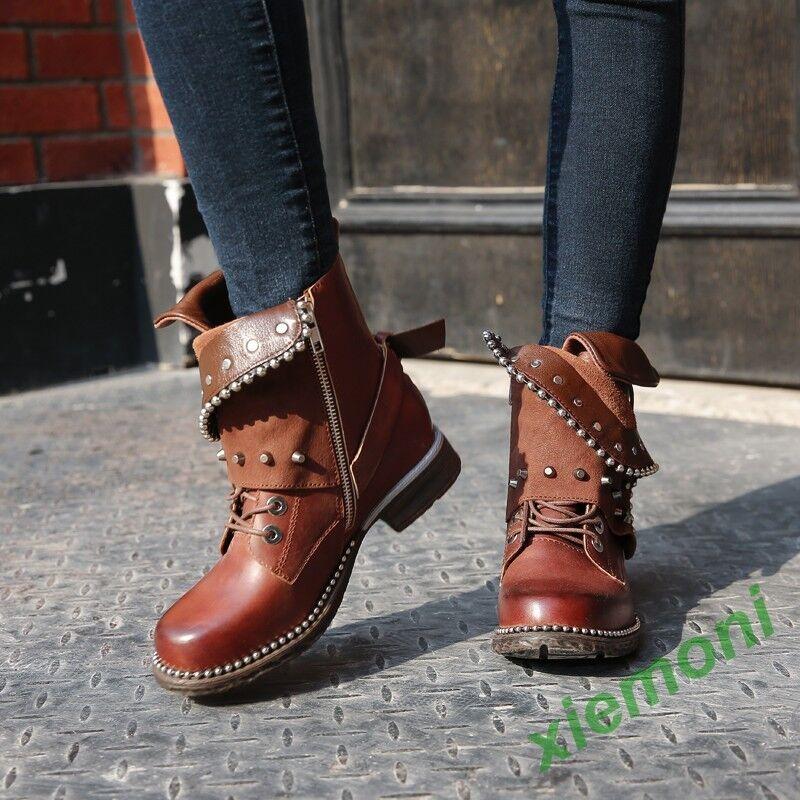2019 Women Zip Buckle Belt Leather Western Cowboy Retro Ankle Boots shoes Rivet