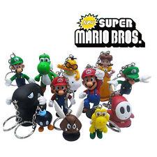 Super Mario Bros Set of 12pcs Character Figures Keychains Keyrings Pendants