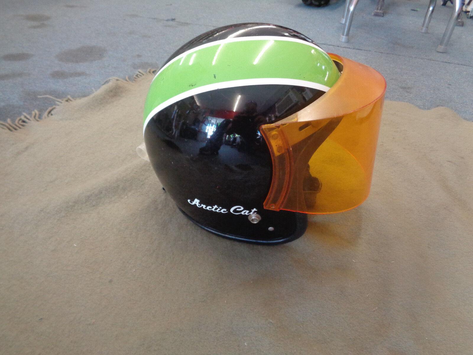 Vintage 1970s ARCTIC CAT Snowmobile Helmet - Used - Size Large orange Shield