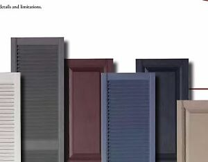 """15"""" Vinyl Shutters Louvered And Raised Panel LIFETIME WARRANTY"""