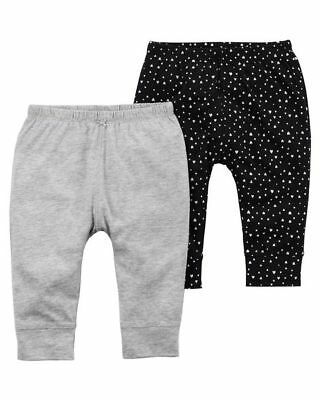 Qualified Carter's Infant Girls' 2-pack Pants Black W/ Hearts And Gray Nwt Bottoms 2 Pair Big Clearance Sale Girls' Clothing (newborn-5t)