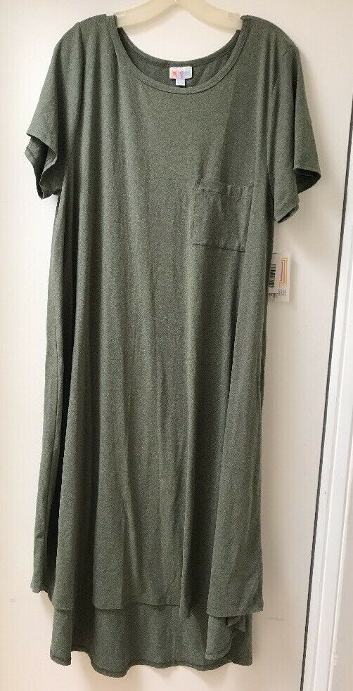 LuLaRoe Sage Grün Grün Carly Dress Front Pocket High Low Hem 2XL NWT