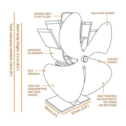 Nouveau cosystove ® 4 Lame Bois Log Brûleur Chaleur Alimenté Fourneau Haut Ventilateur Eco-Friendly