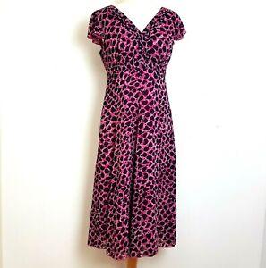 Per Una Midi Dress UK 12 Pink Animal Print Fit Flare Sheer Lined Floaty V-Neck