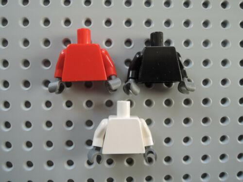 Lego 3 x Torso Oberkörper Jacke blank 973  rot weiß schwarz graue Hände